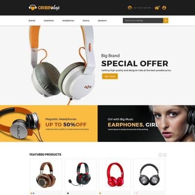 orbinshop electronics headphones prestashop theme